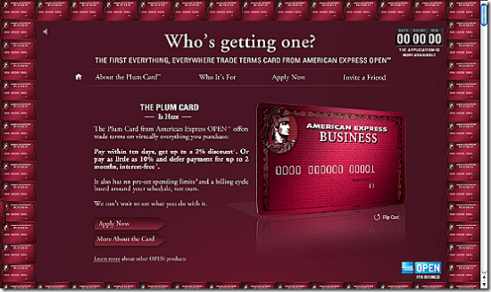American Express Plum Card homepage
