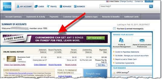 iTunes promo on main American Express account page