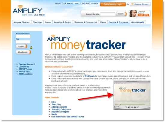 Amplify FCU landing page for Jwaala's MoneyTracker