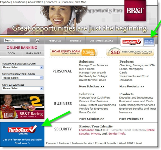 BB&T new homepage design with TurboTax links