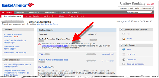 Main Bank Of America Account Overview Screen (14 Jan 2011)