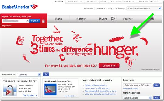 Bank of America's homepage promoted Feeding America on Cyber Monday