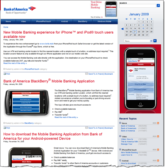 Bank of America mobile banking blog (21 Jan 2009)