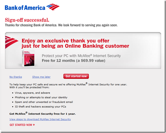 Bank of America Offering 1 Year Free McAfee Internet Security at