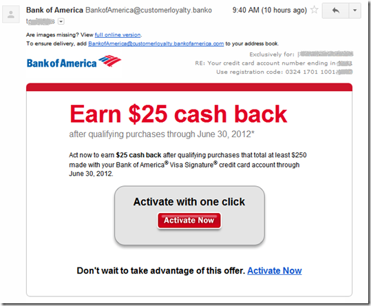 email from Bank of America offering $25 cash back