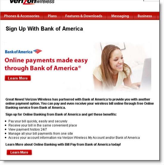 Verizon Wireless pitch for BofA bill pay