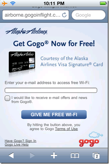 1. First screen of free wi-fi promotion on Alaska Airlines