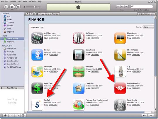23 Finance apps in Apple's App Store (10 July 2008)