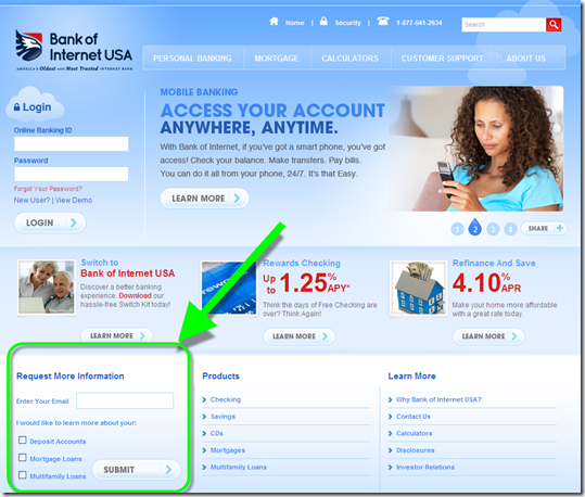 New Bank of Internet homepage (6 Oct 2011)