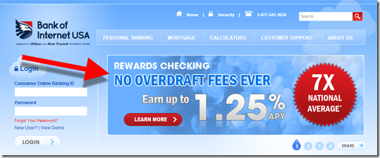 Bank of Internet homepage featuring no-overdraft-fee checking