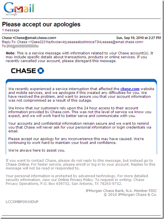chase bank apology email 19 sep 2010