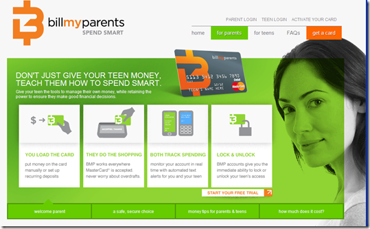 Parent section of BillMyParent's website (27 June 2011)