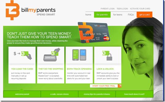 Parent section of BillMyParent's website (27 June 2011)