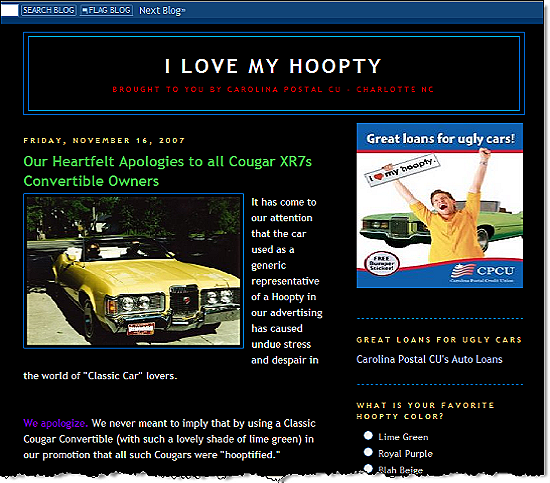 I love my hoopty blog