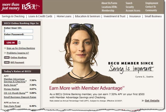 BECU homepage with 7.50% Member Advantage pitch