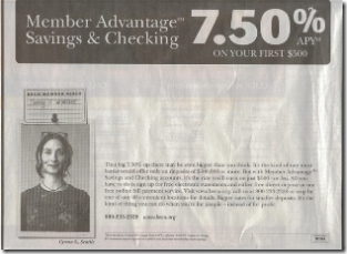 Bottom 1/3 of BECU print ad in Sunday Seattle Times 1 April 2007