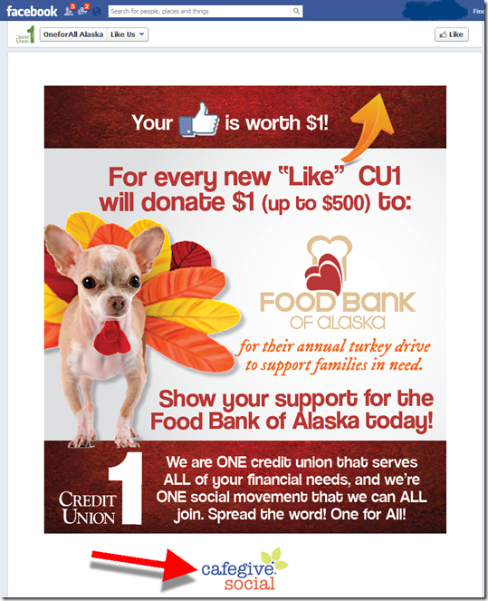 "CafeGive-powered ""like us"" promotion at Credit Union 1 pays out $1 per like"