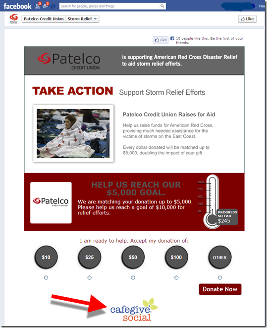 Simple donation site with progress meter at Patelco CU