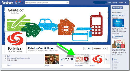 Patelco Credit Union features its CafeGive-powered donation app on its main Facebook page