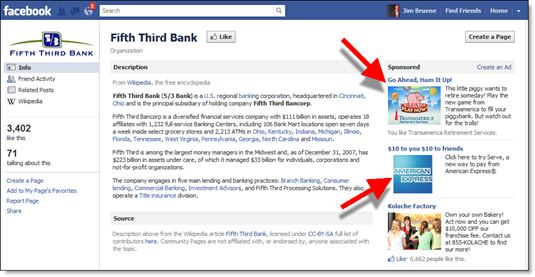 "Fifth Thrid Facebook ""placeholder"" page"
