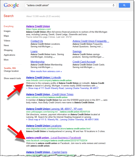 Organic search results for Astera Credit Union