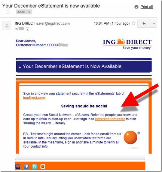 ING Direct estatement email alert
