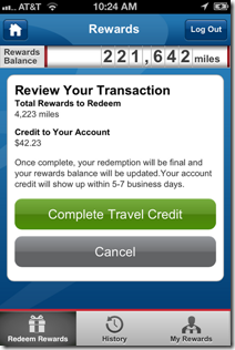 Capital One mobile rewards redemption confirm