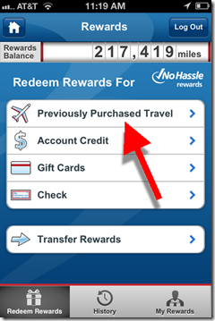 Capital One mobile rewards main page