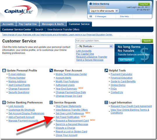 "Capital One ""Set Travel Notification"" within Customer Service Area"