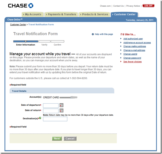 Set Travel Notifications Online at Capital One and Chase Bank ...