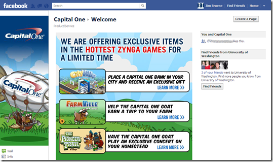1. Capital One Facebook page
