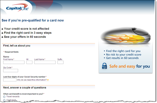 6. The banner ad in Farmville, led to Capital One's usual pre-qualification form