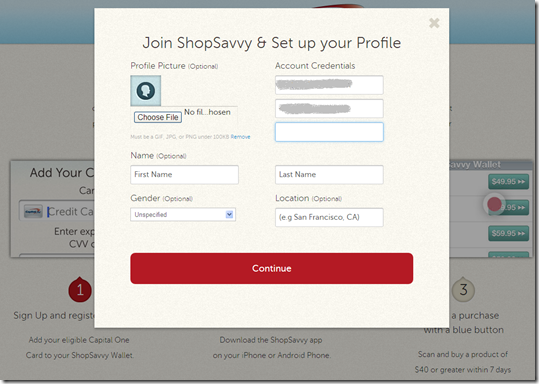ShopSavvy signup process