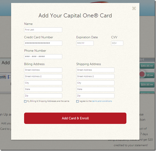 ShopSavvy signup, enter Capital one card