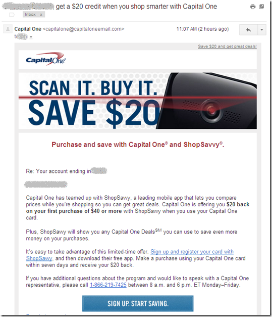Capital One email offering $20 discount forthe first use of ShopSavvy wallet