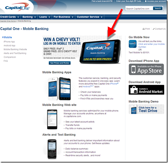Main mobile banking page Capital One