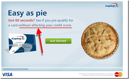 Capital One Landing page emphasizes lack of risk to your credit score
