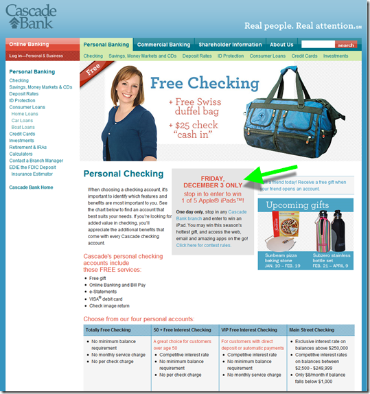 Cascade Bank Landing page pitches free checking with duffel bag premium and $25 bonus
