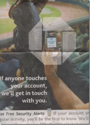 Chase ad in New York Times featuring mobile security alerts