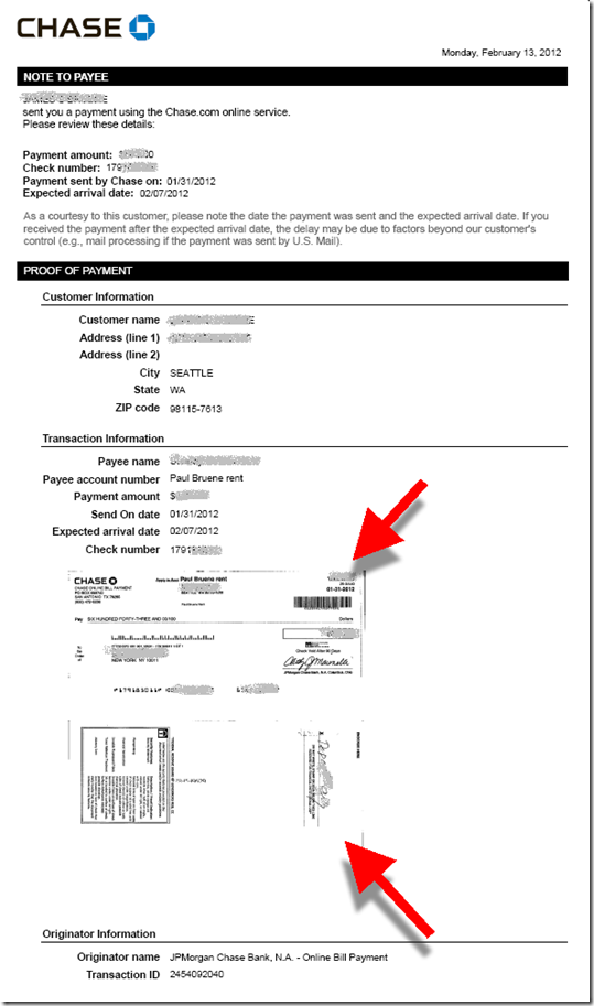 Chase proof of payment letter