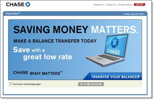 Chase login ad