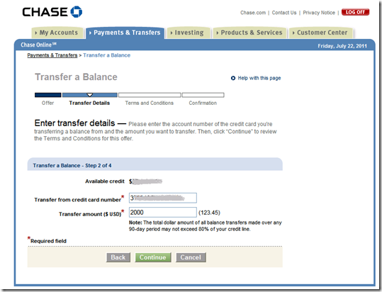 Step 2: Chase credit card balance transfer process