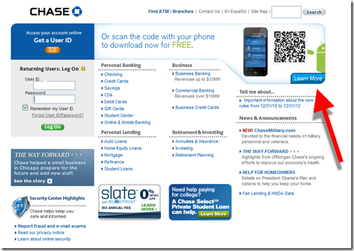 Chase homepage announing android mobile banking app