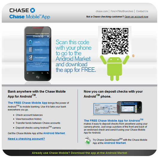 Chase Bank Uses QR Code in Homepage Banner - Finovate