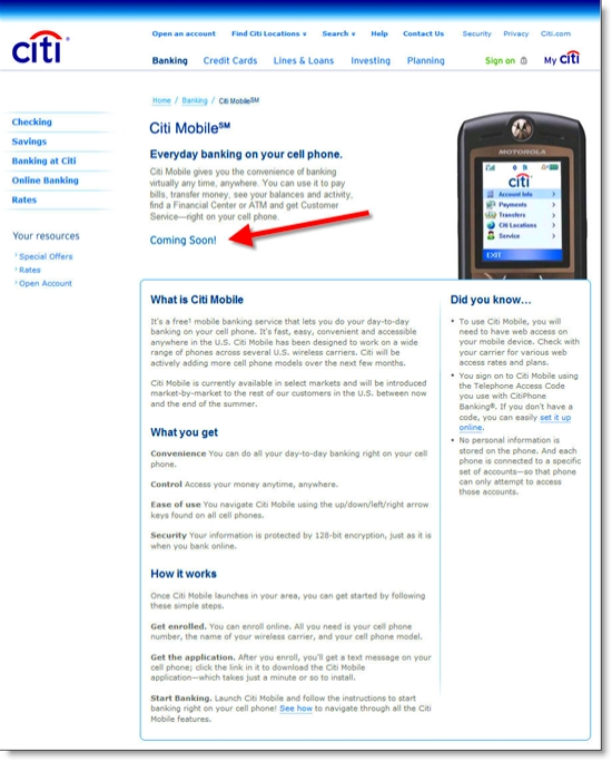 Citi Mobile main page