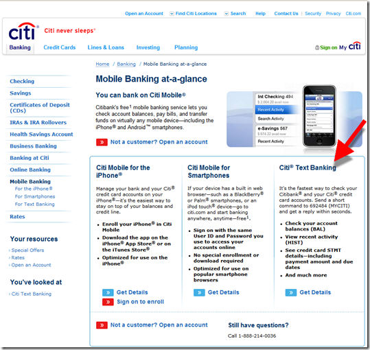 Citibank mobile landing page