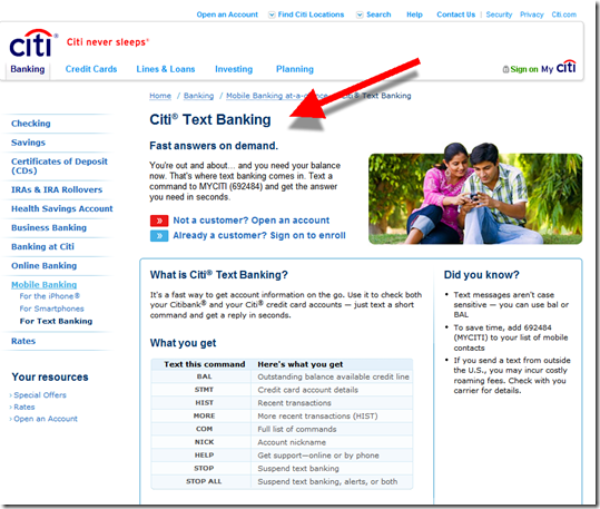 Citibank text banking page