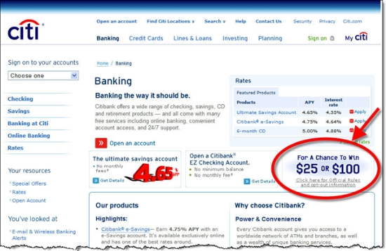 """Citibank's """"Banking"""" page showing ad for instant-win game"""