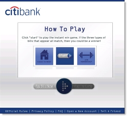 Citibank's instant-win game CLICK TO ENLARGE