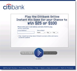 Citibank's registration page for instant-win billpay game CLICK TO ENLARGE